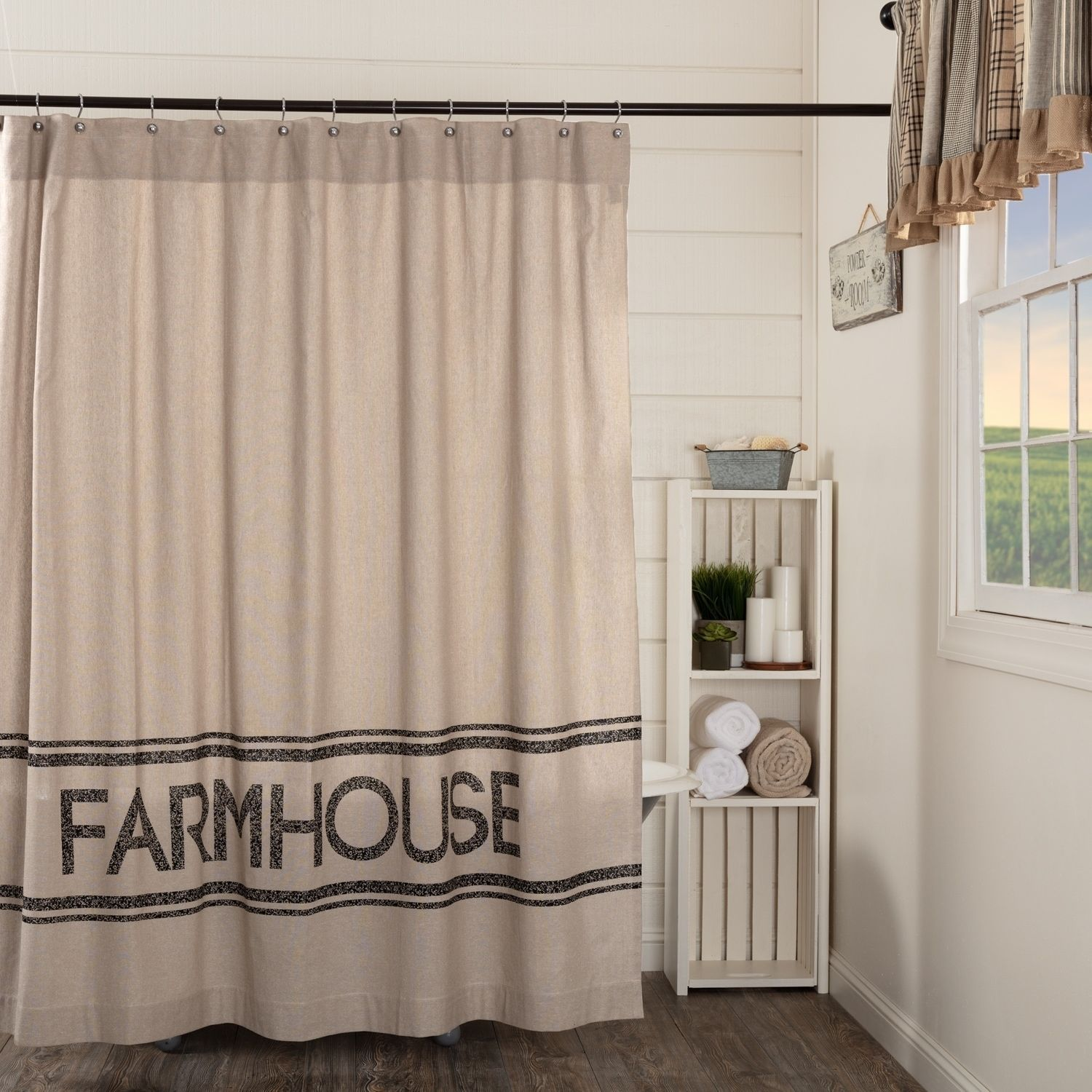 Tan Farmhouse Bath Miller Farm Shower Curtain Rod Pocket Cotton