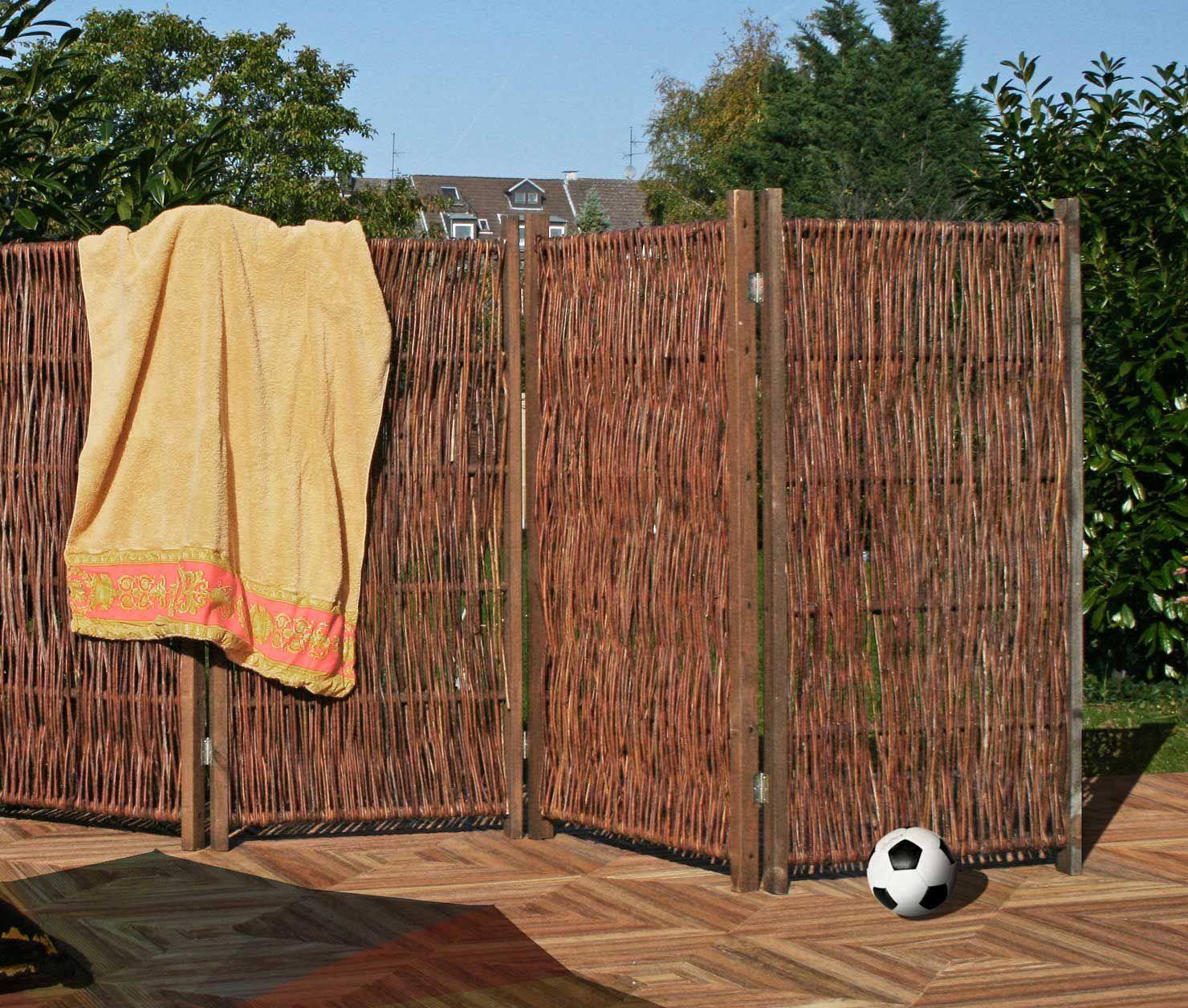 Weiden Paravent ca 240 x 140 cm Dekorativer Sichtschutz für