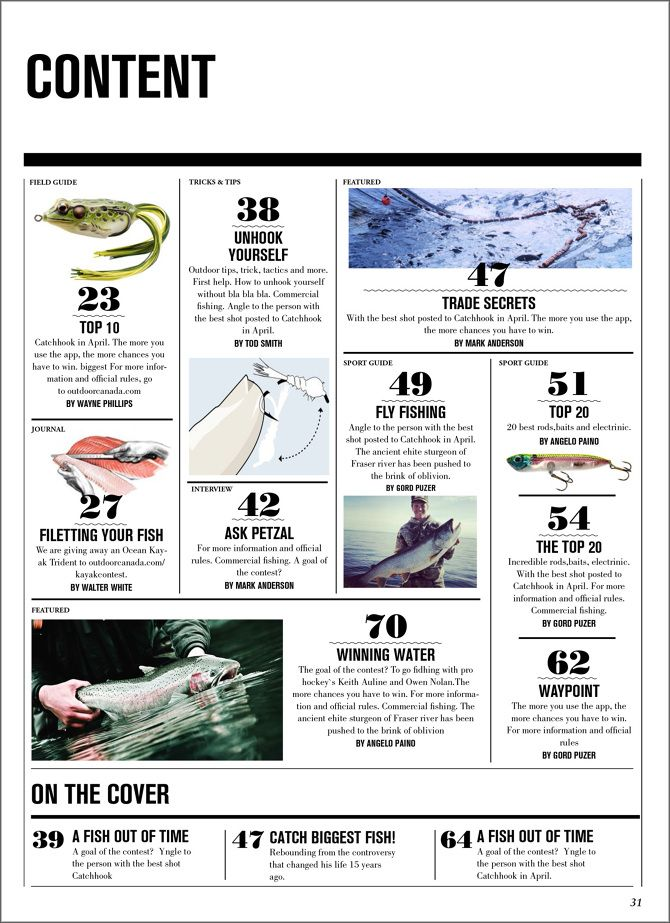Fishing magazine, redesign #editorial #layout #magazine #content page #parsons