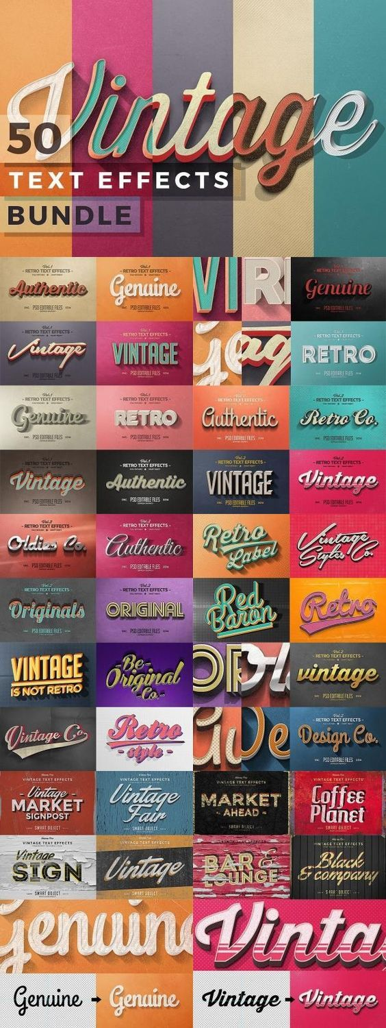 70s Font Generator : generator, Vintage, Effects, Bundle, Fonts, Generator, Retro, Fon…, Text,, Typography, Design,