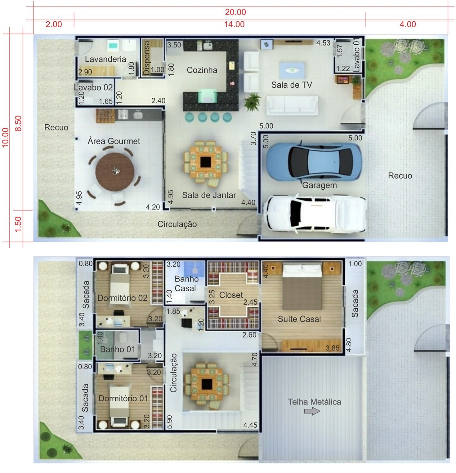 Plano De Casa Con Techo Integrado Plano Para Terreno 10x20 Planos De Casas Casas Disenos De Casas