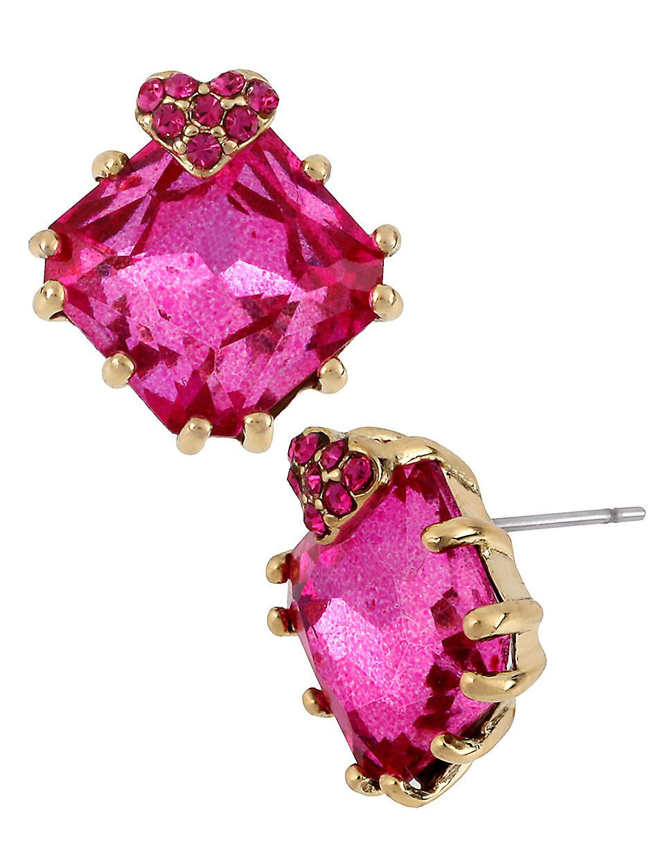 Jewellery & Accessories | Earrings | Square Fuchsia Gem Stud Earring | Hudson's Bay