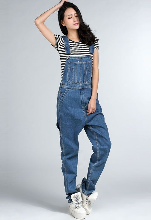 1fcc4057708f Free Shipping 2016 Fashion Boyfriend Style Loose Plus Size XXXXL Denim Bib  Overalls Pants Hiphop Jumpsuit And Rompers tall Women-inJeans from Women s  ...