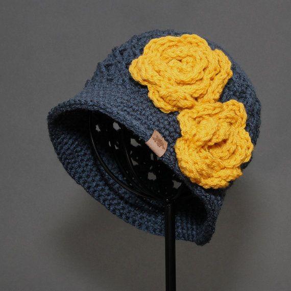 Crochet PATTERN Chloe Cloche with Rose Girls Crochet Hat | allí ...
