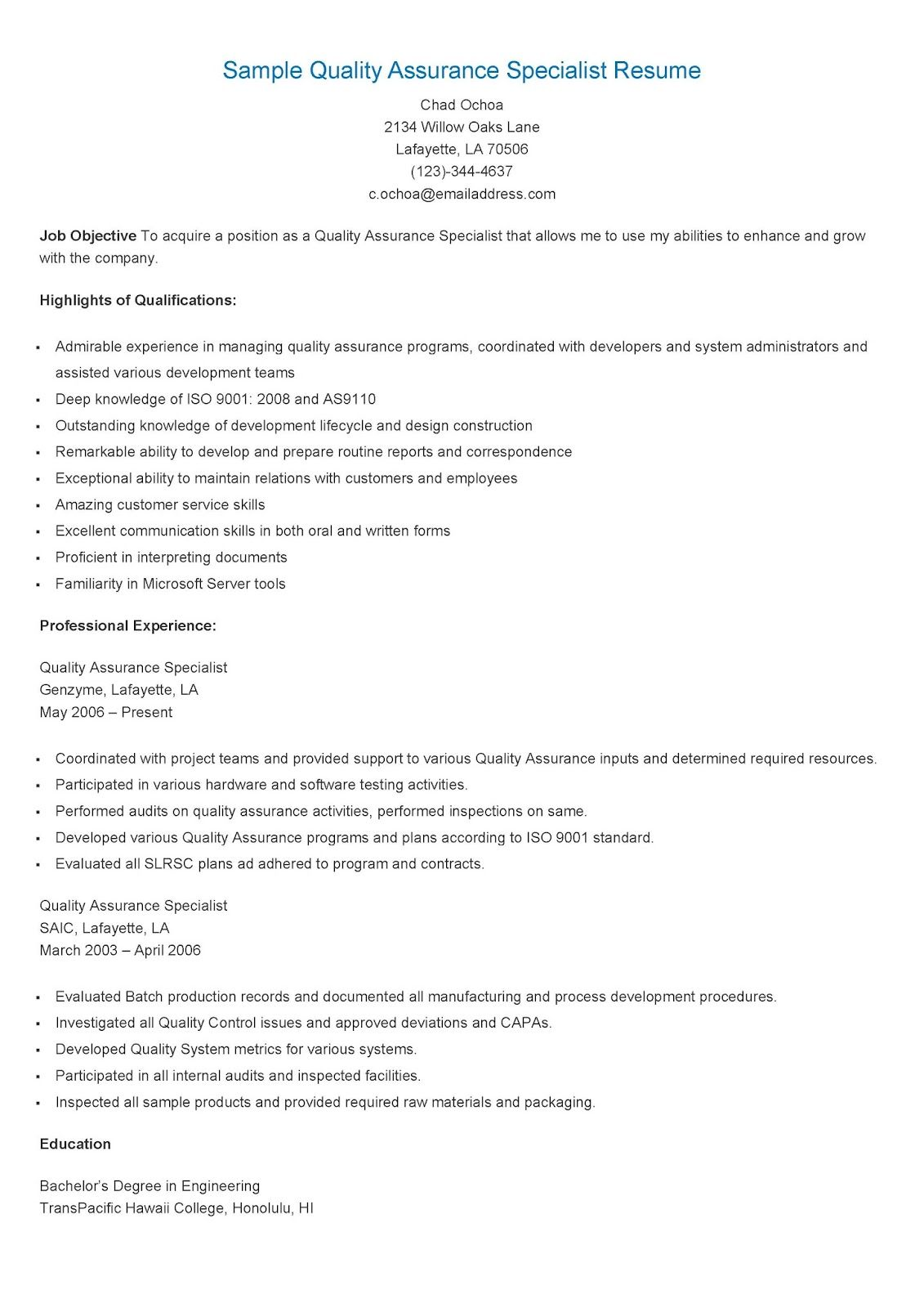 Sample Resume For Quality Assurance Executive Sample Quality Assurance Specialist Resume Resame