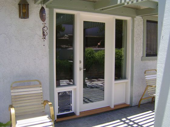 French Doors With Doggie Door Built In Wood French Doors