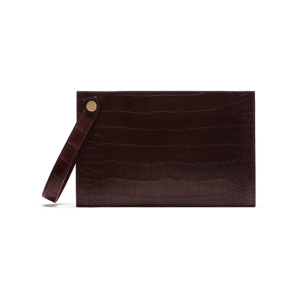 New Edition 2017 Mulberry Handbags Collection Outlet Uk Kite Clutch Oxblood Deep Embossed