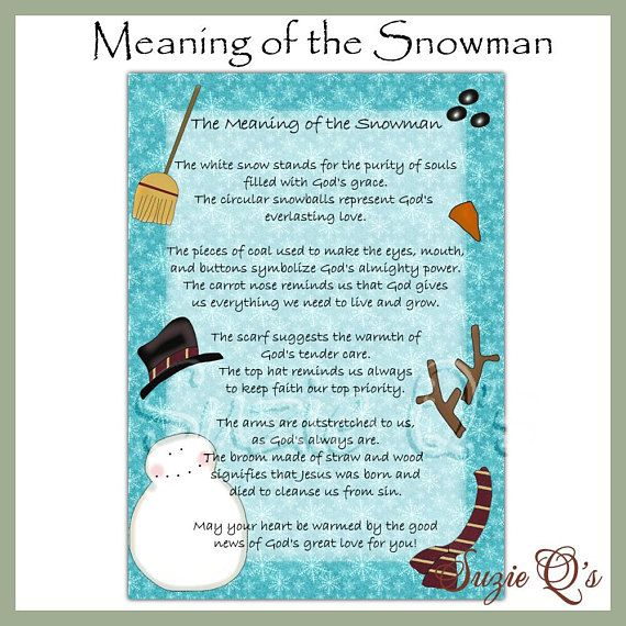 Meaning of the Snowman 5x7 Card Front - Digital Printable - Immediate Download