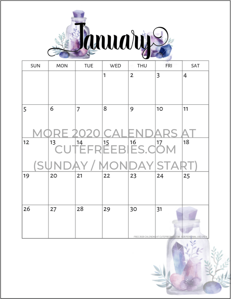 January Calendar 2020 Cute Free Printable 2019 2020 Calendar   Crystal Gems |   2020 Calendar