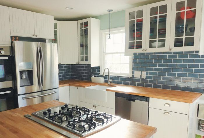 A Classic Subway Tile Backsplash Adds A Sense Of Coastal Chic To This  Traditional Kitchen Design With Our Ocean Inspired Tile Hue, Nautical.