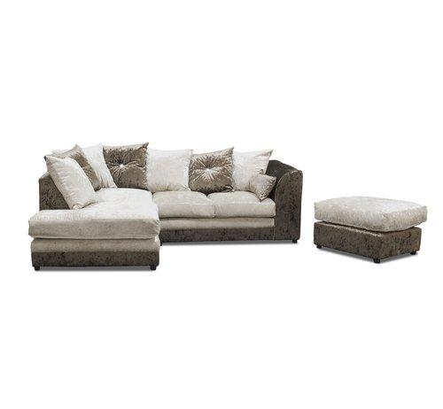 Zinc Velvet Corner Sofa With Footstool Castleton Home Colour Brown Oyster Orientation Right Facing Corner Sofa Modular Corner Sofa