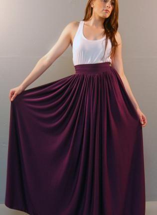 The Goddess Maxi Skirt, Skirt, Long Maxi Skirt Plum Purple solid ...