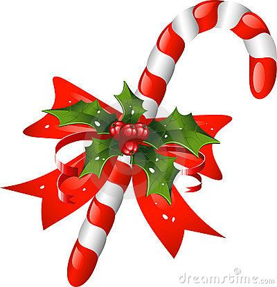Christmas Decorations Candy Canes Entrancing Christmas Candy Cane Decorated With A Bow And Holly  Candy Canes Decorating Design