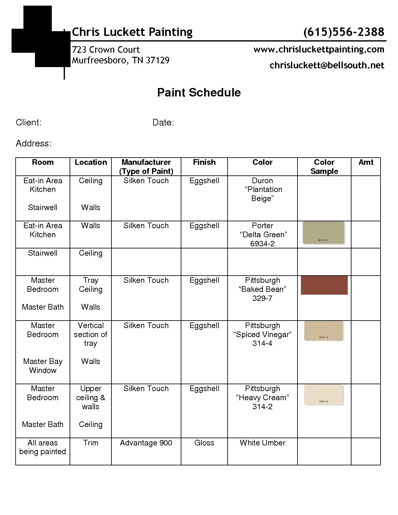 Paint Schedule Example Interior Design Paint Design Clients