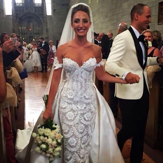 Free Veil Full Lace Sheath Wedding Dresses With Detachable Train