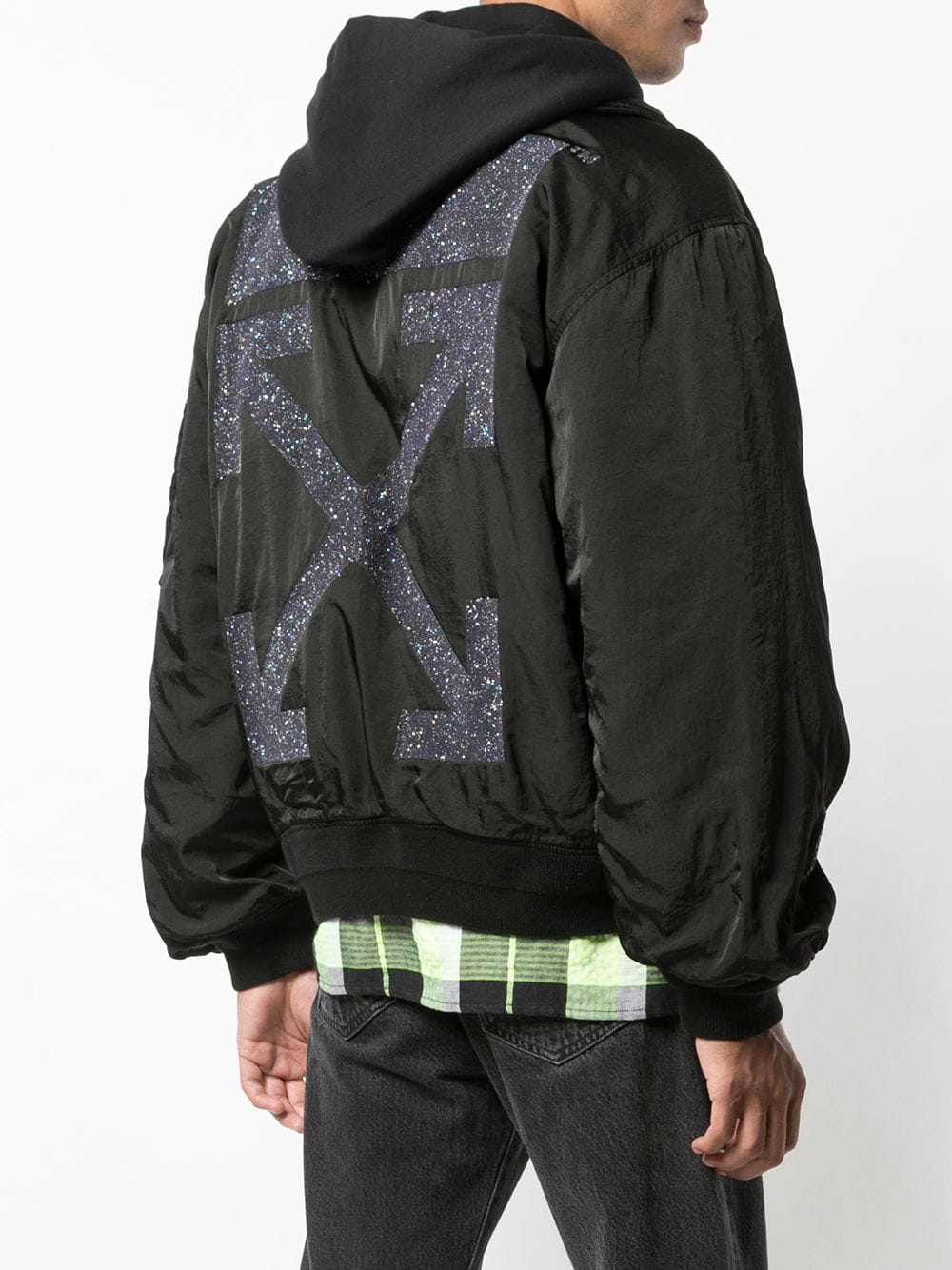 Off White Hooded Bomber Jacket Farfetch Hooded Bomber Jacket Bomber Jacket Jackets [ 1334 x 1000 Pixel ]