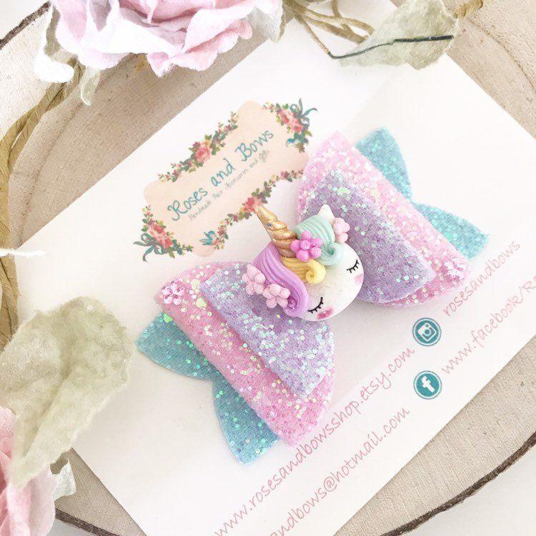 Unicorn hair bow – Unicorn flower hair bow – unicorn headband – Unicorn hair bow – Unicorn glitter bow – Baby Headband – Girls Headband