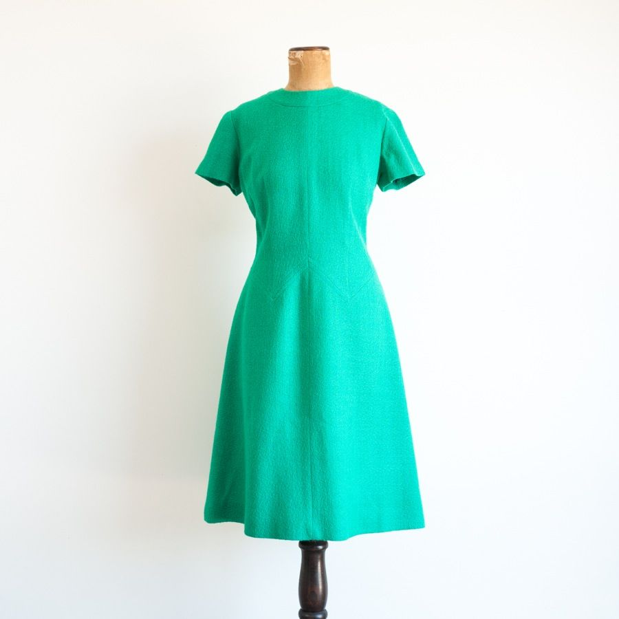 1960s 'Emerald City' kelly green wool dress by Alison Ayres