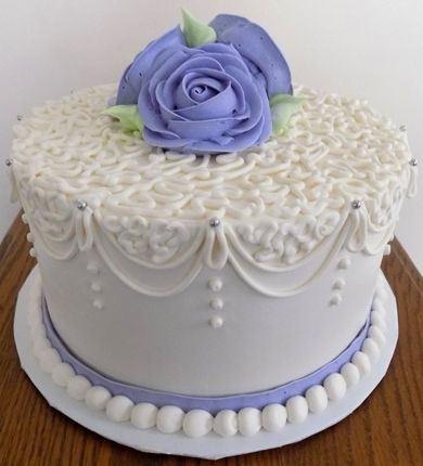 9 Inch Bridal Shower Buttercream Cake Decorated With Cornelli Lace