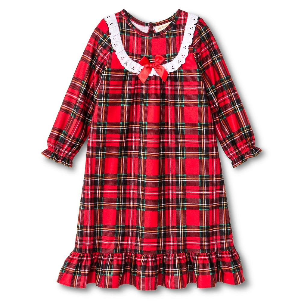 Red flannel nightgown  Toddler Girlsu St Eve Peas u Carrots Plaid Long Sleeve Nightgown