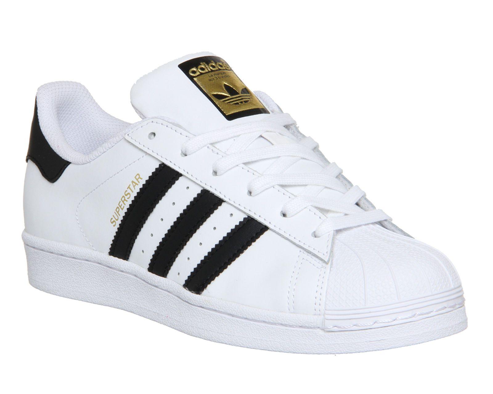 buy popular 01bc8 8df70 Adidas Superstar Unisex Men s   Women s WHITE BLACK FOUNDATION Trainers  Shoes