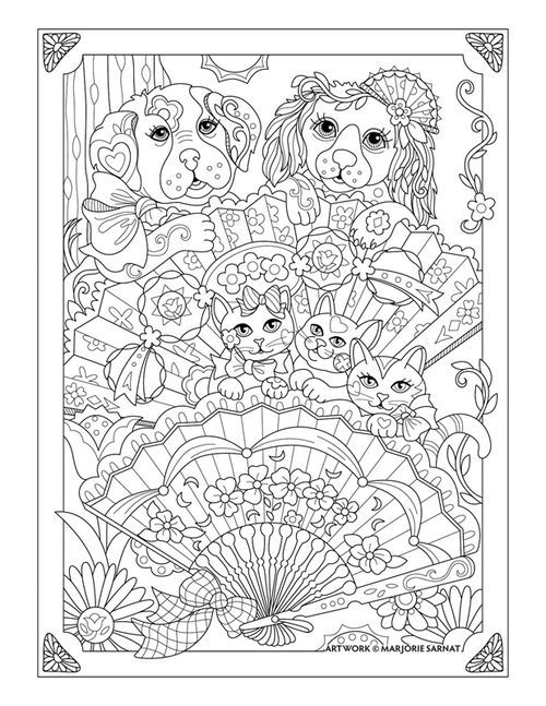Cats Dogs And Fans Pampered Pets Coloring Book I Marjorie Sarnat