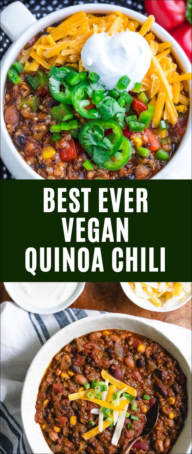 Best Ever Vegan Quinoa Chili #veggiechilirecipe