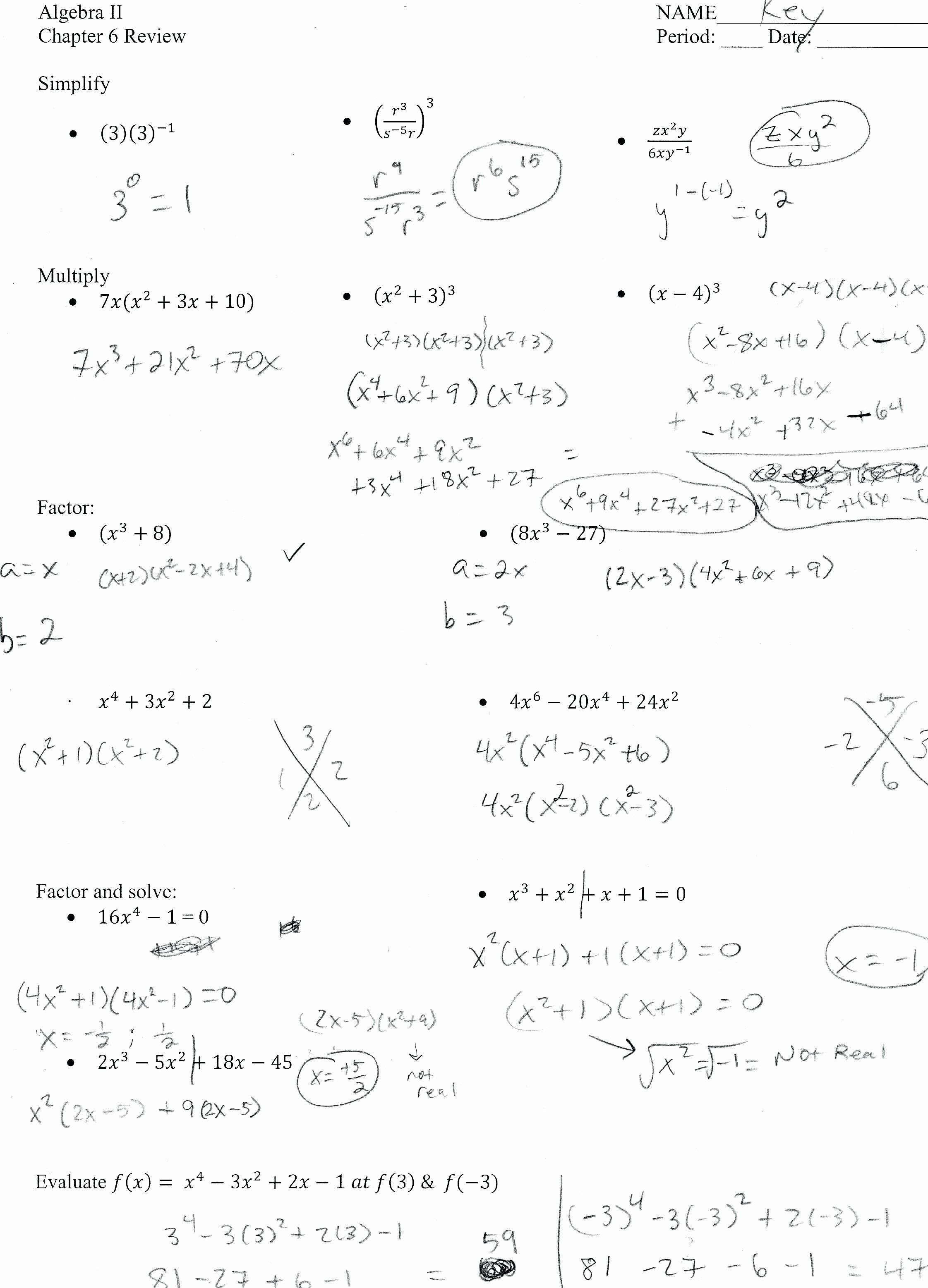 Algebra 2 Review Worksheet Fresh Worksheets Algebra 2