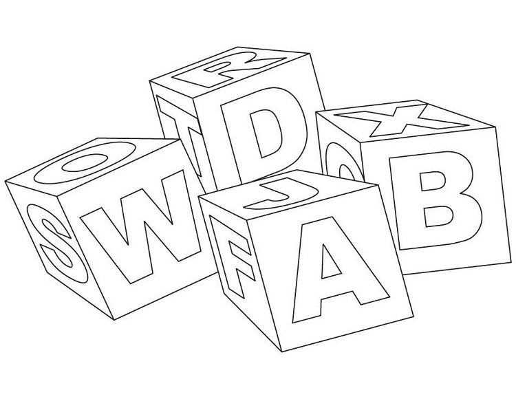 letter blocks coloring pages - photo#9