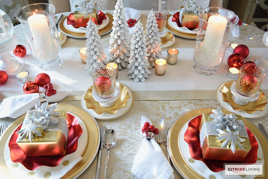 Red White And Gold Holiday Tablescape With A Twist Gold Holiday Tablescape Red Gold Christmas Holiday Tablescapes