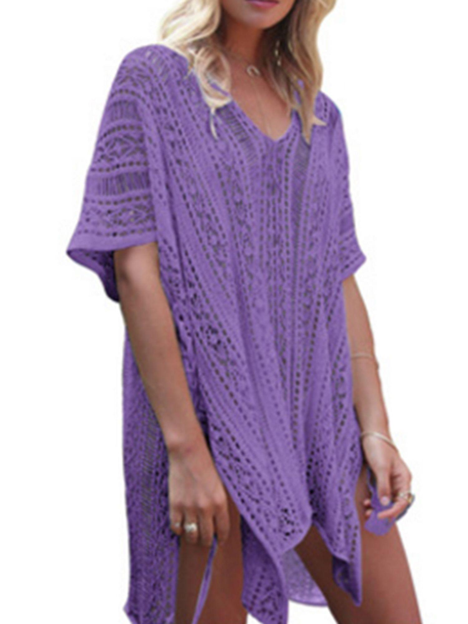 94edf4eb0f6f3 Womens Cover-ups Bohemian Knit Crochet Swim Bikini Tunic Beach Dress Tops  with Tassels Summer
