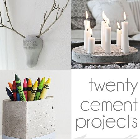 20 cement and concrete DIy craft projects from Too Much Time on My Hands  square