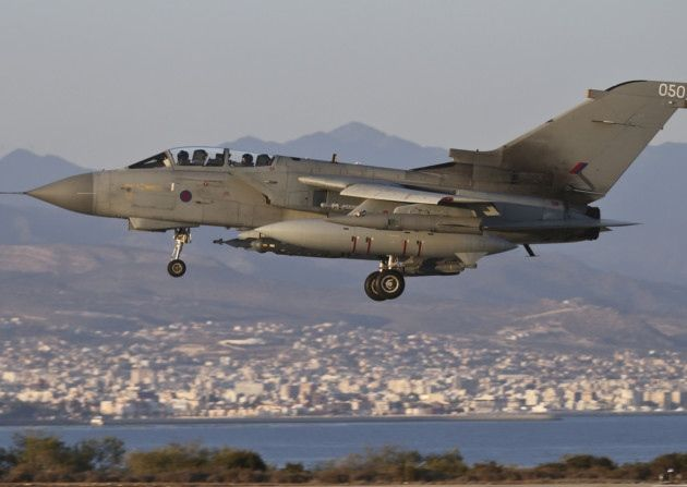 Handout photo dated 30/09/14 issued by the Ministry of Defence of a RAF Tornado GR4 returning to RAF Akrotiri in Cyprus after an armed mission in support of OP SHADER, after British jets hit more Islamic State (IS) targets in Iraq amid growing calls for the action to be extended into the group