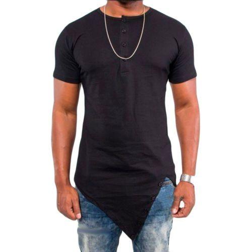 f2f8e3784be Fashion Men s Histreet T-shirt Hip hop Irregular Cut Extended Tee ...
