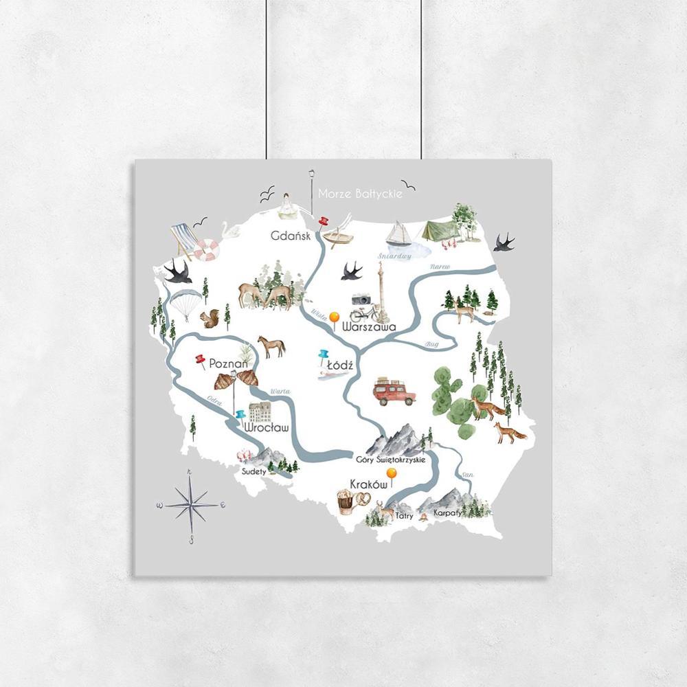 Kwadratowy Plakat Z Mapa Polski Plakat Mapa Tryptyk