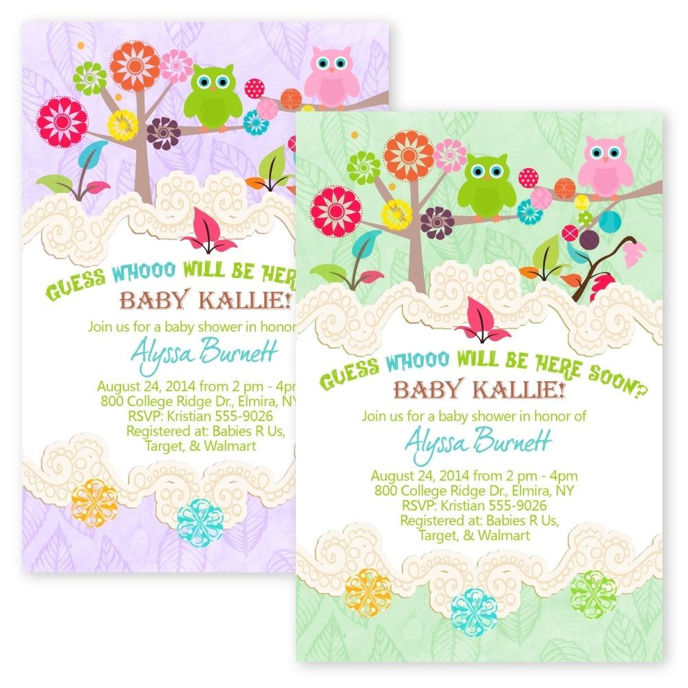Custom Owl Tree YOUR COLOR Baby Shower Party Invitations Custom ...
