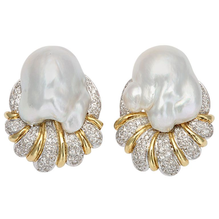 South Sea Pearl Baroque & Diamond Earrings | 1stdibs.com