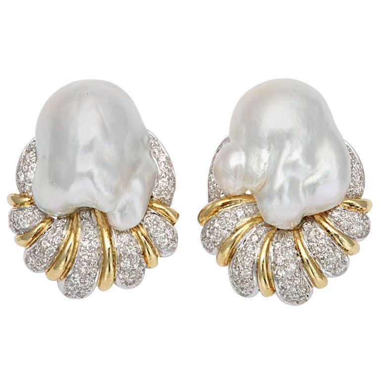 South Sea Pearl Baroque & Diamond Earrings | 1stdibs.com