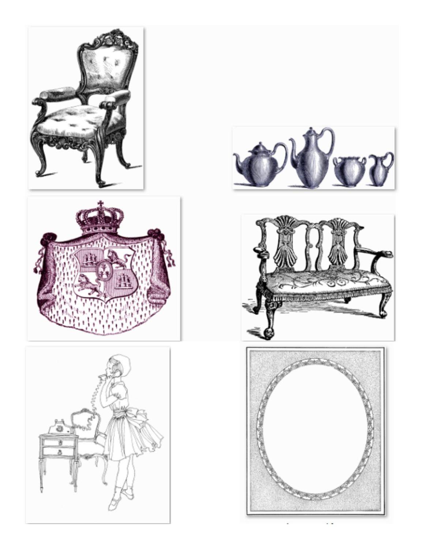 Ephemera Image, Epemera Cutout, VINTAGE FURNITURE IMAGE, Vintage Furniture  Cutout, 27 Pack