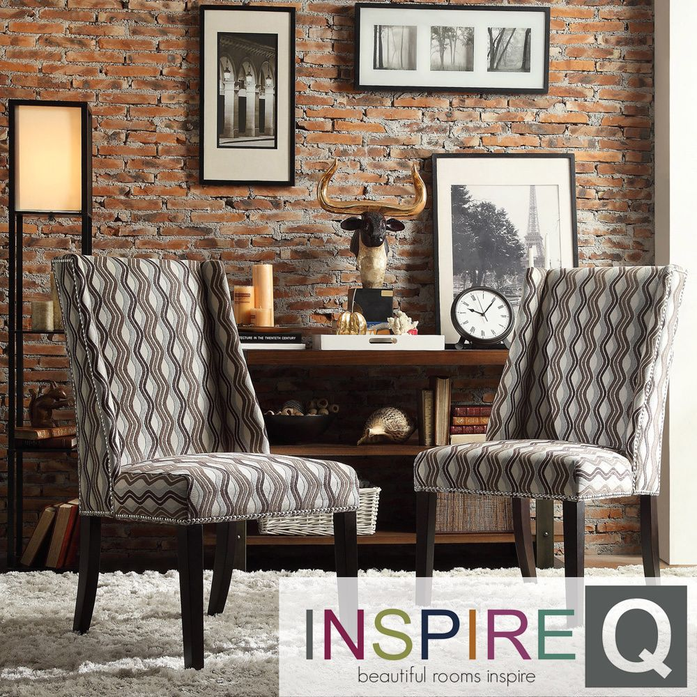 Inspire Q Regency Primary Wavy Stripe Nailhead Wingback Hostess Chairs (Set  of