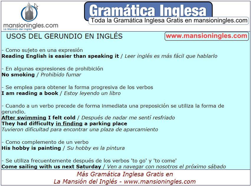 Gramática Inglesa Verbos Usos Del Gerundio En Inglés Gramática Inglesa Ingles Gramática