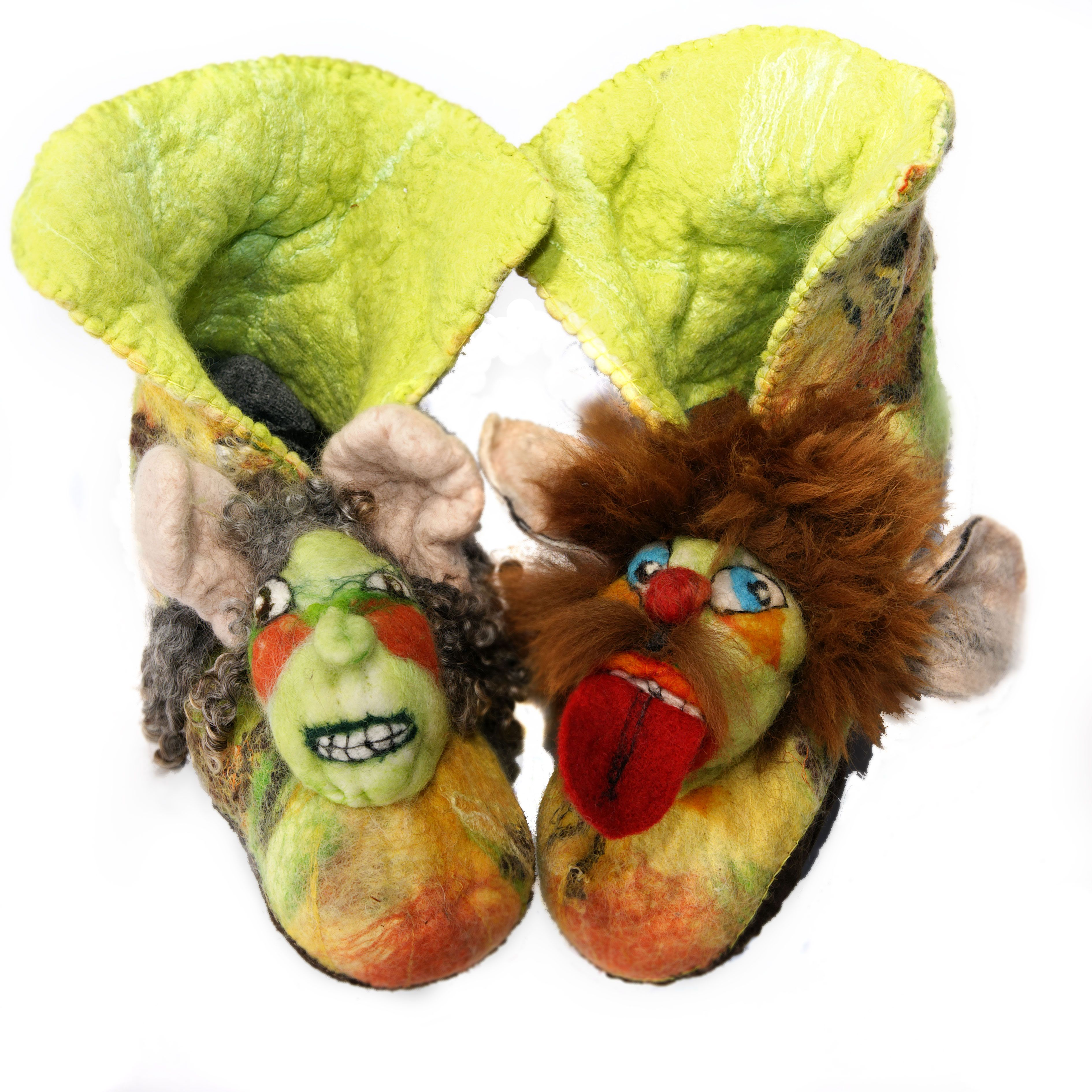 felted slippers with character