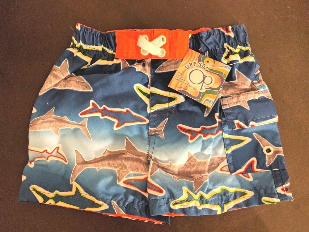 3b14a315a3d6d OP Boys Shark Swim Trunks 12 Mos Ocean Pacific Bathing Suit Pocket Toddler  Blue #OceanPacific #Shorts