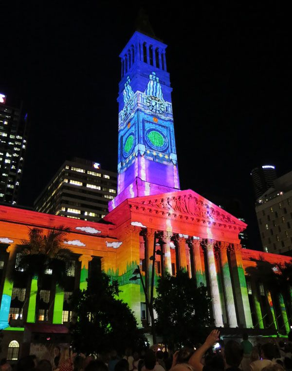 A bright still of the Christmas Light show 2013 on City Hall ...