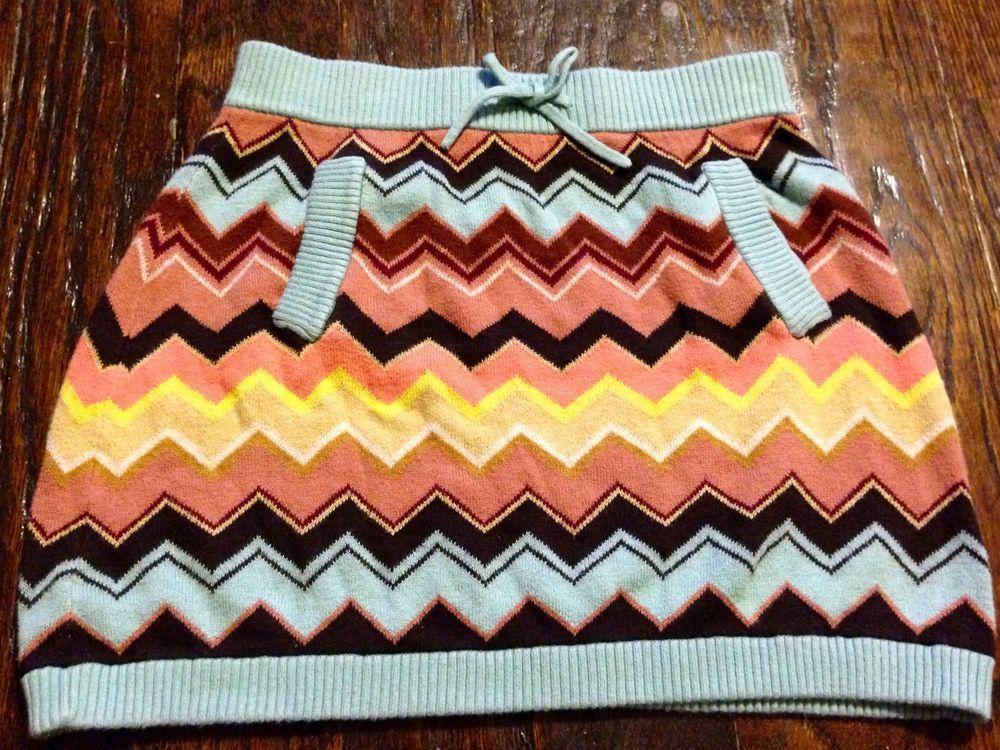 eae789ad8593 Missoni Girls Skirt Chevron Stripe L Knit Zig Zag Cotton Multi Blue ...