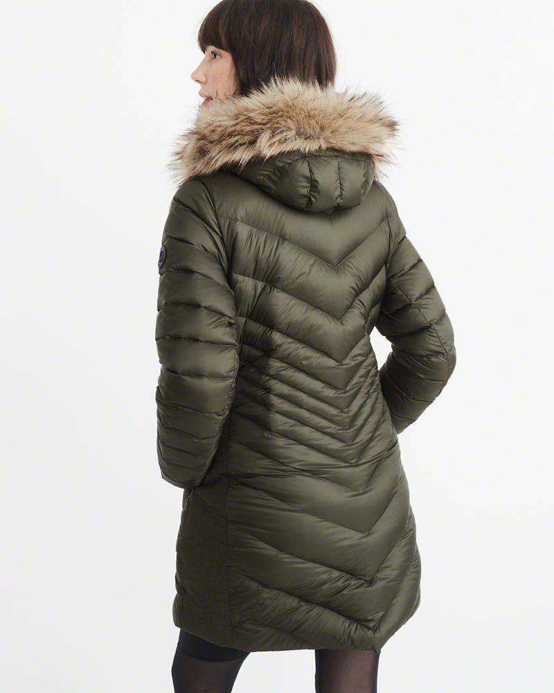 A&F Women's Puffer Meets Parka in Olive Green Size XS