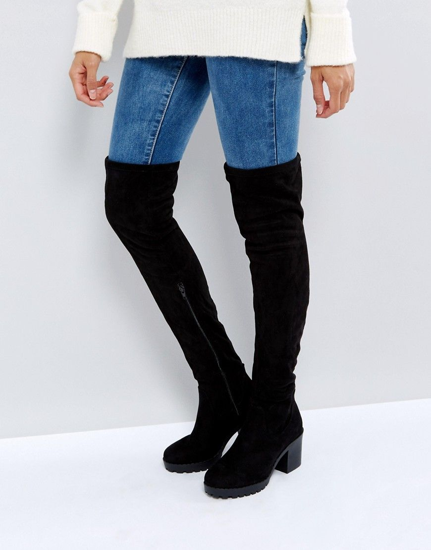 e7f85951376 New Look Chunky Track Sole Over the Knee Boot - Black | Boots ...