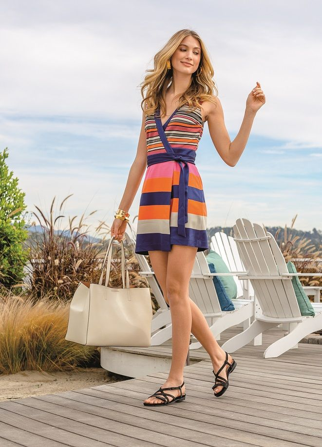 10b857b3566253 Top off your favorite wrap dress with great strappy flats like the ABEO  Samantha sandals!