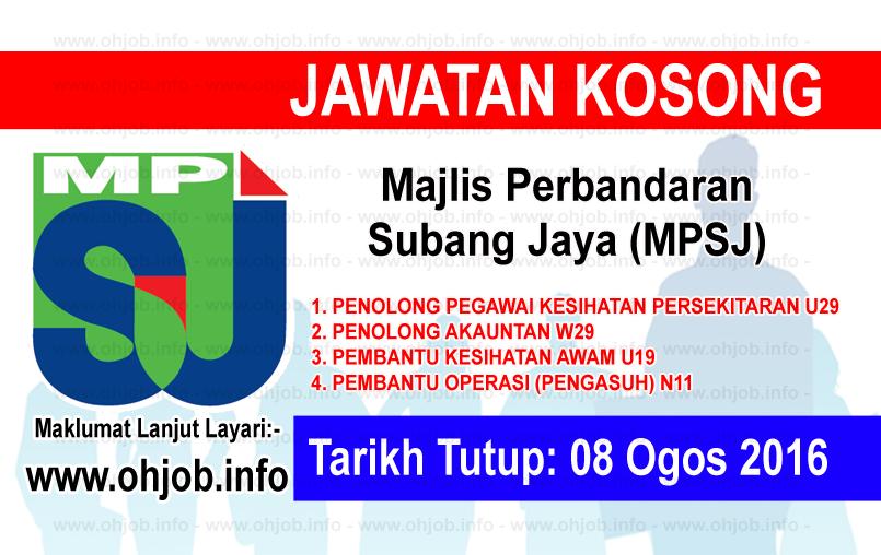 Jawatan Kosong Majlis Perbandaran Subang Jaya Mpsj 08 Ogos 2016 Subang Subang Jaya