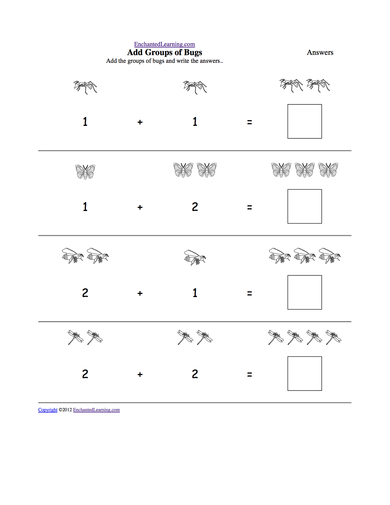 Insects Worksheets Free Add Groups Of Bugs Addition Worksheets Math Worksheets Printable Worksheets [ 1649 x 1275 Pixel ]